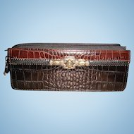 Brighton Two Toned Patent Like Faux Croc Eyeglass Sunglass Case or Very Small Clutch