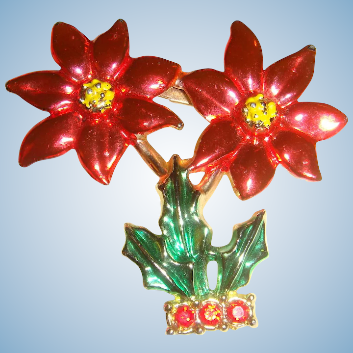 b1c698399fbf2 Potted Christmas Poinsettia Tree Brooch Pin Marked BJ Enameled and ...