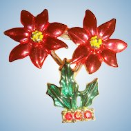 Potted Christmas Poinsettia Tree Brooch Pin Marked BJ Enameled and Rhinestones