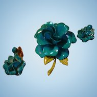 Shimmering Turquoise Blue Enamel Flower Brooch Dimensional Pin and Drop Dangle  Earrings