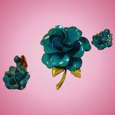Shimmering Turquoise Blue Enamel Flower Brooch Dimensional Pin and Drop Dangle  Earrings
