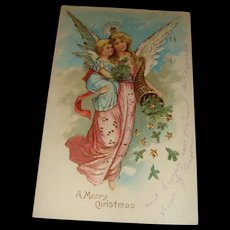 1906 Embossed Christmas Postcard Gold Gilt, Adult and Child Cherubs, Angels, Horn of Plenty