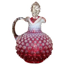 ON HOLD FOR D TO PURCHASE 1950's Fenton Hobnail Cranberry Opalescent Cruet Clear Hobnail Glass Stopper TN Estate