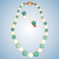 Hattie Carnegie Graduated Glass Beads Necklace and Earrings Marbled Jadite