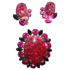 Juliana Malachite Cabochon Deep Pink Oval Brooch Pendant and Earring Set Book Pieces