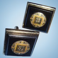 Mid Century Deco Look Black Gold and Silver Tone Swank Cufflinks 1 Inch Square