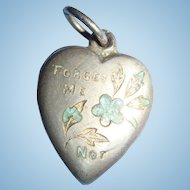 Sterling Silver Forget Me Not Enameled Puffy Heart Charm Engraved