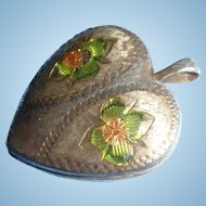 Enameled Puffy Heart Sterling Silver Locket Flowers, Pansies or Forget Me Nots