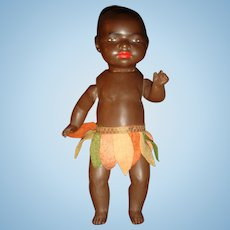 Unmarked Heubach Bisque Head Composition Body Jointed South Sea Black Ethnic Character Doll 10 Inch