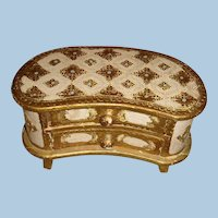 Florentine Kidney Shape Wooden Gold Gesso Chest Turquoise, Cream, Doll Size, Jewelry Box