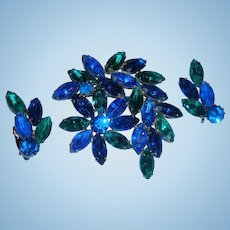 Vivid Electric Blue Emerald Green Brooch and Earrings Marquise Prong Set Flower and Leaf