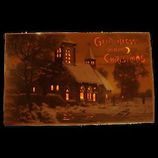 Near Perfect God Bless Your Christmas Early Hold To Light Postcard