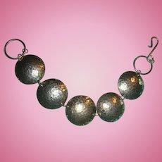 Vintage Mid Century  Hammered Sterling Silver Bracelet 5 Domed Discs Hook and Eye Closure
