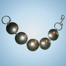 Vintage Mid Century  Hammered Sterling Silver Bracelet 5 Domed Discs Hook and Eye Closure