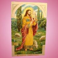 1911 Easter Postcard Heavily Embossed Jesus and Lambs Good Shepherd