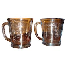 2 Fire King Oven Glass Sapphire Blue Philbe Mugs Flat Bottom Back Stamp