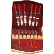12 Piece Red Marbled Bakelite Kitchen Flatware Original Box Knives and Forks