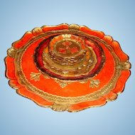 7 Piece Stack of Florentine Wooden Gold Gesso Trays, Small Plate and Coasters Orange, Red, Gold,