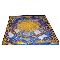 Hermes of France Authentic Carpe Diem Silk Scarf, Vivid Colors,  Like New