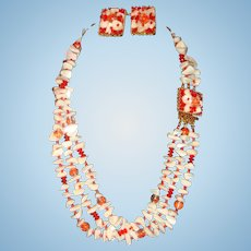 Sandor Mother of Pearl and Crystal Beads 3 Stand Necklace and Clip Earrings