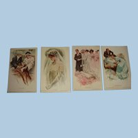 Four Harrison Fisher Unused Signed Postcards from About 1909 Proposal, Bride, Wedding, Baby
