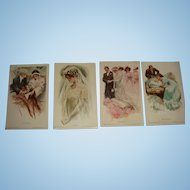 4 Harrison Fisher Unused Signed Postcards from About 1909 Proposal, Bride, Wedding, Baby