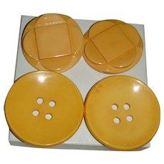 4 Large Old Bakelite Coat Buttons Metal Shank, 3 Dimensional, Carved