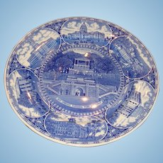 Olde English Staffordshire Blue White Plate Hot Springs, Little Rock, Arkansas Souvenir