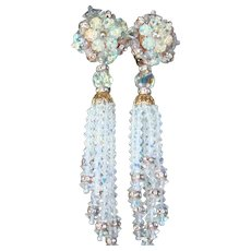 Lois Ann Cascading Waterfall Clip Earrings Crystal Rondelle Rhinestones Dangling