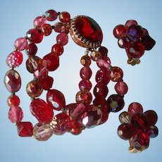 Hattie Carnegie 3 Strand Bracelet Earrings Art Givre Glass Crystal Aurora Borealis