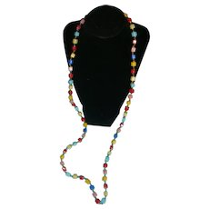 Flapper Length Colorful Glass Cube and Bead Necklace