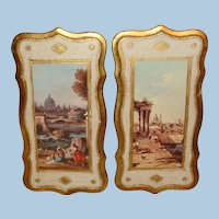 Pair of Florentine Gold Gesso Plaques Scenes from Italy 15 1/4  x 8 Inches
