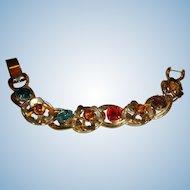 Chunky 1960's Colorful Prong Set Rhinestone Bracelet 8 Links Clover