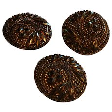 3 Black Glass Buttons Embellished With Bronze or Copper Colored Stones