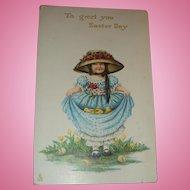 1912 Tuck Easter Postcard Little Bonnet Girl Large Hat, Roses, Dress Full of Baby Chicks