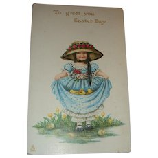1912 Tuck Easter Postcard Little Bonnet Girl Large Hat, Roses, Baby Chicks