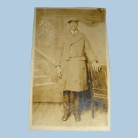 Real Photo Postcard Black American in Trench Coat and Hat Long Fingers Large Hands