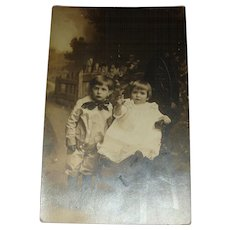 Early Sepia Real Photo Unused Postcard Brother and Sister Victorian High Chair