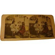 Tinted Stereoview Stereo View Card Little Girls Introduce Dog and Cat The Introduction