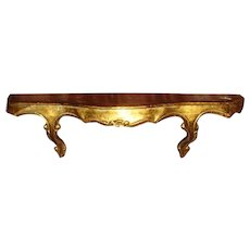 Long Vintage Florentine Ornate Wood Gold Gesso Gilt Wall Shelf Made in Italy