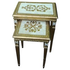 Pair of Florentine Wooden Gold Gesso Nesting Tables Made in Italy KY Estate