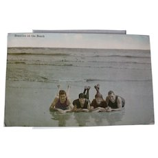 1919 Real Photo Picture Tinted Postcard Beauties on the Beach