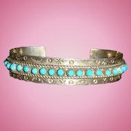 Native American JP Ukestine Zuni Snake Eyes Turquoise Cuff Bracelet, Sterling