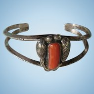 Native American Sterling Silver Leaf and Coral Cuff Bracelet Southwest