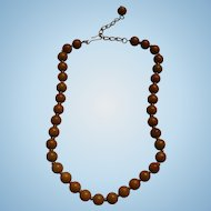 Napier Bakelite Beaded Adjustable Necklace Marbled Olive Green