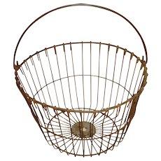 Large Metal Wire Egg Farm Basket Bail Handle Primitive