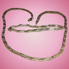 Sterling Silver Greek Key Links Necklace and Bracelet Set Marked 925
