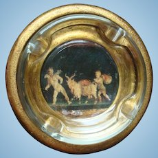 Florentine Made In Italy Art Gold Gesso Wood Glass Ashtray
