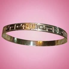 Mexico Sterling Silver Greek Key Bangle Bracelet for Medium to Larger Wrist