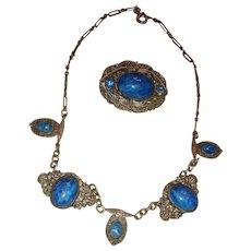 Art Deco Filigree Choker Necklace Brooch Bezel Set Lapis Blue Cabochons and Rhinestones